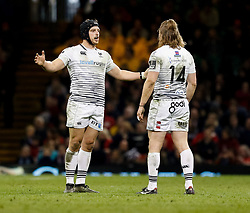 Ospreys' Dan Evans with team-mate Jeff Hassler<br /> <br /> Photographer Simon King/Replay Images<br /> <br /> Guinness PRO14 Round 21 - Cardiff Blues v Ospreys - Saturday 28th April 2018 - Principality Stadium - Cardiff<br /> <br /> World Copyright © Replay Images . All rights reserved. info@replayimages.co.uk - http://replayimages.co.uk