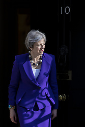 April 18, 2018 - London, London, UK - London, UK. Prime Minister Theresa May leaves 10 Downing Street to greet Indian Prime Minister Narendra Modi. (Credit Image: © Rob Pinney/London News Pictures via ZUMA Wire)