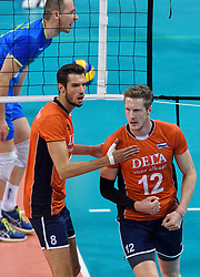 Bas van Bemmelen #8, Kay van Dijk #12 during volleyball match between National teams of Netherlands and Slovenia in Playoff of 2015 CEV Volleyball European Championship - Men, on October 13, 2015 in Arena Armeec, Sofia, Bulgaria. Photo by Ronald Hoogendoorn / Sportida