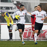 Besiktas's Hugo Almedia (L) celebrate his goal with team mate during their Turkish superleague soccer match Besiktas between Gaziantepspor at BJK Inonu Stadium in Istanbul Turkey on Tuesday, 05 January 2012. Photo by TURKPIX