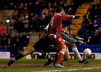 Photo. Jed Wee.<br /> Tranmere Rovers v Bristol City, Nationwide League Division Two, Prenton Park, Liverpool. 24/03/2004.<br /> Bristol's Christian Roberts is denied by the outstretched arms of Tranmere goalkeeper John Achterberg.