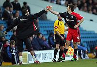 Photo: Paul Thomas.<br /> Leeds United v Southampton. Coca Cola Championship. 18/11/2006.<br /> <br /> Grzegorz Rasiak (R) of Southampton celebrates his goal.