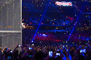 Shane McMahon jumps off the cage during a Hell in a Cell match against The Undertaker during WrestleMania on April 3, 2016 in Arlington, Texas.
