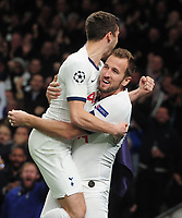 Football - 2019 / 2020 UEFA Champions League - Group B: Tottenham Hotspur vs. Olympiakos<br /> <br /> Harry Kane of Spurs celebrates scoring the equalising goal with Harry Winks, at The Tottenham Hotspur Stadium.<br /> <br /> COLORSPORT/ANDREW COWIE