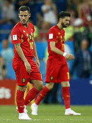 (l-r) Eden Hazard of Belgium, Yannick Carrasco of Belgium during the 2018 FIFA World Cup Russia round of 16 match between Belgium and Japan at the Rostov Arena on July 02, 2018 in Rostov-On-Don, Russia