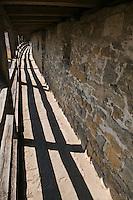 Historic stone wall surrounding city center, Rothenburg ob der Tauber, Franconia, Bavaria, Germany
