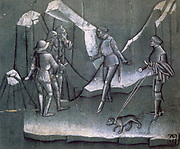 Scene from a story of chivalry.  Bolognese artist c1400. Pen and brush, brown ink, white highlights on coloured paper.