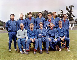 The England team to play Portugal in the World Cup semi final: (back row, l-r) trainer Harold Shepherdson, George Cohen, Martin Peters, Gordon Banks, Alan Ball, Bobby Moore, Nobby Stiles; (front row, l-r) Bobby Charlton, Roger Hunt, Geoff Hurst, Ray Wilson, Jack Charlton