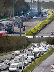© Licensed to London News Pictures. 23/03/2020. London, UK. In this combined image the effect of the Coronavirus on commuter traffic at the A3 in Kingston Vale, south west London, can be seen at 08:30am on the 10th March (lower image) and today at the same time (top image) at Photo credit: Alex Lentati/Peter Macdiarmid/LNP