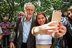 **FILE PICTURE - Monday December 21 marks 100 days since Jeremy Corbyn became leader of the Labour Party**© Licensed to London News Pictures. 06/08/2015. London, UK. Labour Party leader candidate Jeremy Corbyn attends a Campaign for Nuclear Disarmament rally to mark the 70th Anniversary of the atomic bombings of Hiroshima and Nagasaki in Tavistock Square, London on Thursday, August 6, 2015. Photo credit: Tolga Akmen/LNP