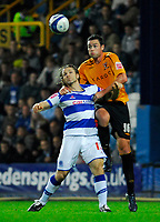 Photo: Leigh Quinnell/Sportsbeat Images.<br /> Queens Park Rangers v Hull City. Coca Cola Championship. 03/11/2007. Hulls Damien Delaney rises above QPRs Gareth Ainsworth.