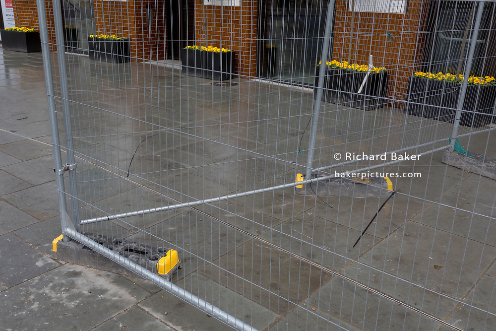Yellow spring daffodils and the matching tips of construction fence weights, on 29th March, 2018 in London, England.