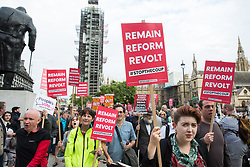 London, UK. 2 September, 2019. Hundreds of people attending a 'Stop The Coup' protest in Whitehall march to Parliament Square following Prime Minister Boris Johnson's address to the nation outside 10 Downing Street to the effect that there will be a vote on a general election if MPs vote for a further delay to Brexit.