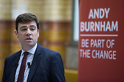 © Licensed to London News Pictures . 17/08/2015 . Manchester , UK . Labour party leadership contender , ANDY BURNHAM delivers a speech at the People's History Museum in Manchester this morning (Monday 17th August 2015) . Photo credit : Joel Goodman/LNP