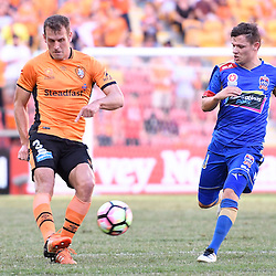 BRISBANE, AUSTRALIA - JANUARY 7: Luke DeVere of the Roar kicks the ball during the round 14 Hyundai A-League match between the Brisbane Roar and Newcastle Jets at Suncorp Stadium on January 7, 2017 in Brisbane, Australia. (Photo by Patrick Kearney/Brisbane Roar)