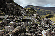 Boulder along the Quiraing, on the Trotternish Peninsula at the northern end of the Isle of Skye, Scotland
