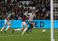 Football - 2017 / 2018 EFL (League) Cup - Third Round: West Ham United vs. Bolton Wanderers<br /> <br /> Andrew Taylor (Bolton Wanderers) tries to beat the West Ham defence in the last few minutes of the game at the London Stadium.<br /> <br /> <br /> COLORSPORT/DANIEL BEARHAM