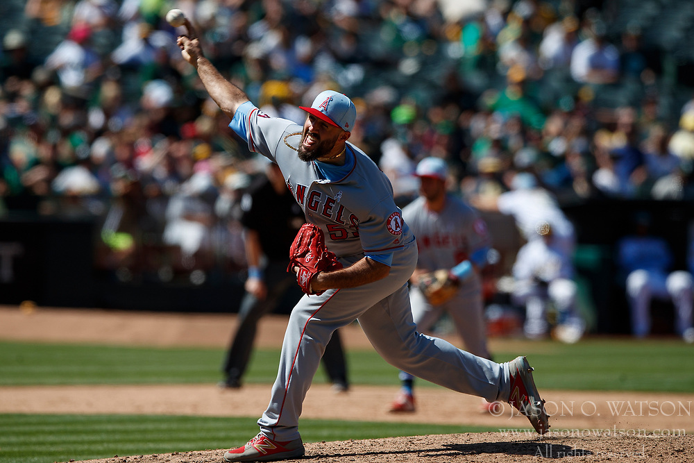 OAKLAND, CA - JUNE 17: Blake Parker #53 of the Los Angeles Angels of Anaheim pitches against the Oakland Athletics during the ninth inning at the Oakland Coliseum on June 17, 2018 in Oakland, California. The Oakland Athletics defeated the Los Angeles Angels of Anaheim 6-5 in 11 innings. (Photo by Jason O. Watson/Getty Images) *** Local Caption *** Blake Parker