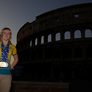 Australian Gold medal winner Jessicah Schipper during a 6am photo shoot outside the Coloseum in Rome, Italy on  Monday, August 03, 2009. Photo Tim Clayton.