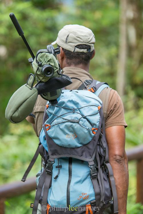 Bird Spotter with telescope, Mashpi Lodge, Cloud Forest, Mashpi Reserve, Distrito Metropolitano de Quito, Ecuador