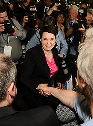Scottish Conservative leader Ruth Davidson is greeted on her arrival at the count in Edinburgh.<br /> © Dave Johnston/ EEm