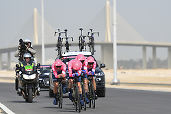 February 24, 2019 - Abu Dhabi, United Arab Emirates - Members of EF Education First Team from USA in action, during the Team Time Trial, the opening ADNOC stage of the inaugural UAE Tour 2019..On Sunday, February 24, 2019, Abu Dhabi, United Arab Emirates. (Credit Image: © Artur Widak/NurPhoto via ZUMA Press)