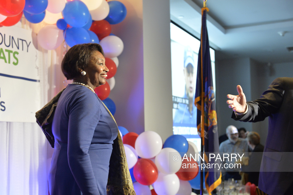 Garden City, New York, USA. November 6, 2018. Nassau County Democrats watch Election Day results at Garden City Hotel, Long Island. On stage is ANDREA STEWART-COUSINS, who represents District 35 in the New York State Senate, serves as Senate Democratic Leader.