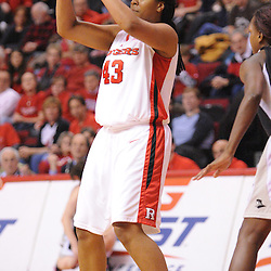 Feb 21, 2009; Piscataway, NJ, USA; Rutgers center Rashidat Junaid (43) looks for an open pass during the first half of Rutgers' 55-42 victory over Providence at the Louis Brown Athletic Center.