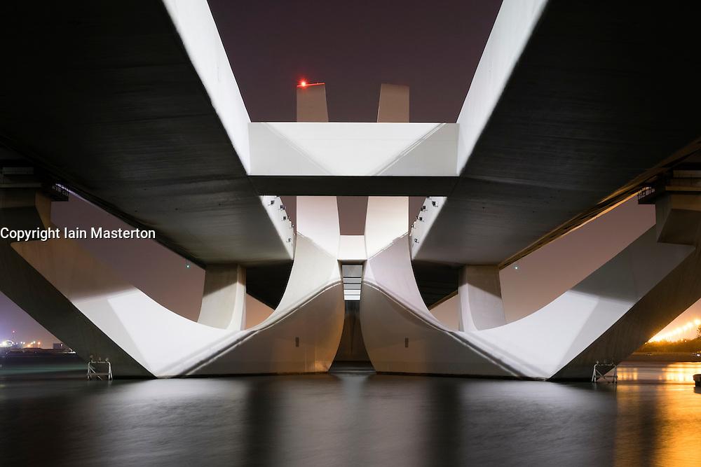 Modern Sheikh Zayed Bridge designed by Zaha Hadid in Abu Dhabi United Arab Emirates