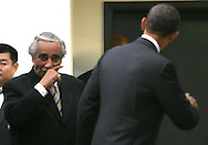 Representative Charles Rangel  reacts after meeting President Barack Obama after President Obama signs the Claims Resolution Act of 2010.photo by Dennis Brack