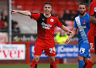 Crawley Town defender Mitch Hancox organises his fellow defenders during the Sky Bet League 2 match between Crawley Town and Leyton Orient at the Checkatrade.com Stadium, Crawley, England on 10 October 2015. Photo by Bennett Dean.