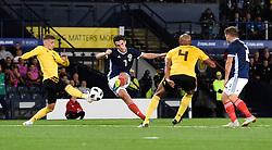 Scotland's John McGinn has a shot on goal during the International Friendly at Hampden Park, Glasgow.