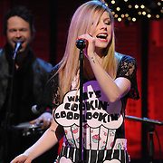 """Avril Lavigne performs on the """"The Rachael Ray Show""""  in New York City.Avril Lavigne is seen in a photo from the production of """"The Rachael Ray Show"""" in New York City on November 29, 2011. David E. Steele/Disney/ABC"""