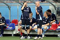 Fotball<br /> Tippeligaen Eliteserien<br /> 10.06.07<br /> Ullevaal Stadion<br /> Vålerenga VIF - Odd Grenland<br /> Frustrasjon hos Vålerengas trener e Petter Myhre og Harald Aabrekk<br /> Foto - Kasper Wikestad