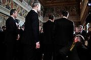 Guardie ed assistenti seguono il Presidente della Repubblica, Giorgio Napolitano durante la cerimonia per la Festa del Lavoro al Quirinale, Roma 1 Maggio 2014.  Christian Mantuano / OneShot <br /> <br /> <br /> Guards and assistants follow the President of the Republic, Giorgio Napolitano, during the ceremony for Labour Day at the Quirinale, Rome, May 1st, 2014. Mantuano Christian / OneShot