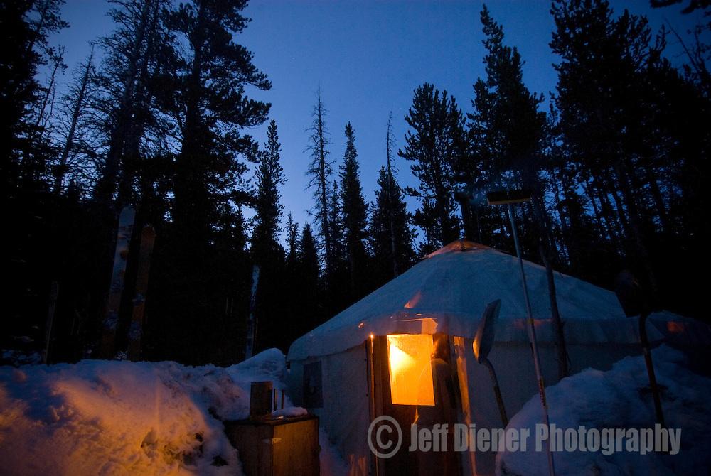 "The Wallowa Alpine Hut's ""dining/cook"" yurt at McCully Basin Camp.  Wallowa Mountains, Eagle Cap Wilderness Area, Oregon."
