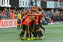 October 21, 2018 - Atlanta, GA, U.S. - ATLANTA, GA Ð OCTOBER 21:  Atlanta United players celebrate a goal scored by Franco Escobar (2) during the match between Atlanta United and the Chicago Fire on October 21st, 2018 at Mercedes-Benz Stadium in Atlanta, GA.  Atlanta United FC defeated the Chicago Fire by a score of 2 to 1.  (Photo by Rich von Biberstein/Icon Sportswire) (Credit Image: © Rich Von Biberstein/Icon SMI via ZUMA Press)
