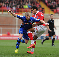 Bristol City's Korey Smith challenges for the ball with Rochdale's Jamie Allen - Photo mandatory by-line: Dougie Allward/JMP - Mobile: 07966 386802 - 28/02/2015 - SPORT - football - Bristol - Ashton Gate - Bristol City v Rochdale AFC - Sky Bet League One