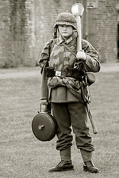 German Panzer Grenadier wearing Zeltbahn and armed with Teller mine and Panzerfaust, Eastern front 1943 on - Nww2A Fort Paull<br /> <br />  Copyright Paul David Drabble<br /> 5th & 6th May 2019<br />  www.pauldaviddrabble.co.uk