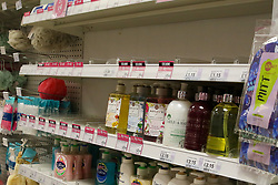 © Licensed to London News Pictures. 05/03/2020. London, UK. Poundland store in London runs low of hand wash amid an increased number of cases of Coronavirus (COVID-19) in the UK. Three more cases were confirmed in Scotland this morning, taking the UK total to ninety. Photo credit: Dinendra Haria/LNP