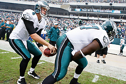 Philadelphia Eagles quarterback Kevin Kolb #4 takes a practice snap before the NFL game between the Kansas City Chiefs and the Philadelphia Eagles on September 27th 2009. The Eagles won 34-14 at Lincoln Financial Field in Philadelphia, Pennsylvania. (Photo By Brian Garfinkel)