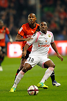 FOOTBALL - FRENCH CHAMPIONSHIP 2011/2012 - L1 - STADE RENNAIS v FC LORIENT  - 16/10/2011 - PHOTO PASCAL ALLEE / DPPI - GILLES SUNU (FCL) / KEVIN THEOPHILE CATHERINE (REN)