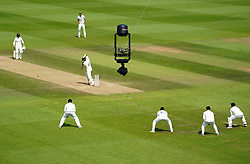 A spidercam films play during day six of the ICC World Test Championship Final match at The Ageas Bowl, Southampton. Picture date: Wednesday June 23, 2021.