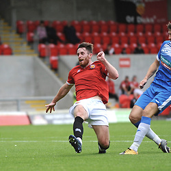 BARROW COPYRIGHT MIKE SHERIDAN GOAL. Scott Quigley of Barrow scores to make it 2-1 during the pre-season friendly between FC United of Manchester and Barrow AFC at Broadhurst Park, manchester on Saturday, August 22, 2020<br /> <br /> Picture credit: Mike Sheridan/Ultrapress<br /> <br /> MS202021-020