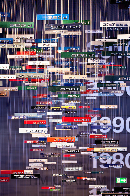 BMW series badges and nameplates in hanging display  at the BMW Museum and Headquarters in Munich, Bavaria, Germany