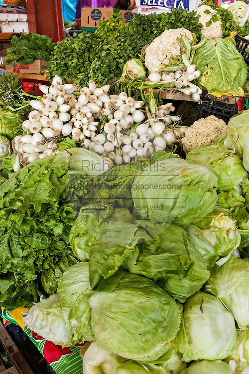 Fresh vegetable on sale at the Sunday market in Tlacolula de Matamoros, Mexico. The regional street market draws thousands of sellers and shoppers from throughout the Valles Centrales de Oaxaca.