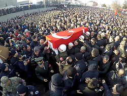 February 6, 2018 - Erzurum, Turkey - Relatives and thousands of people attend funeral prayers for Ahmet Aktepe, a Turkish soldier who was killed in cross-border clashes with Kurdish Popular Protection Units (YPG) forces on 4 February at Syria, in Erzurum, Turkey. (Credit Image: © Onur Sagsoz - Depo Photos/Depo Photos via ZUMA Wire)