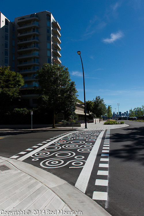 A freshly painted decorative cross walk as seen near the Lonsdale Quay in North Vancouver. © Rod Mountain