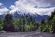 """Hike up a mud flow through green forest to spectacular Osorno Volcano in the Andes mountain range, in Los Lagos Region, Chile, South America. This stratovolcano rises to 2652 meters (or 8701 feet elevation) between Osorno Province and Llanquihue Province. Volcan Osorno is one of the most active volcanoes of the southern Chilean Andes, with 11 historical eruptions recorded between 1575 and 1869, where basalt and andesite lava flows reached Lakes Llanquihue and Todos los Santos. Osorno sits on top of a 250,000-year-old eroded stratovolcano, La Picada, with a 6-km-wide caldera. Despite its modest altitude and latitude, the cone of Volcan Osorno is covered by glaciers deposited by heavy snowfall wrung from the moist maritime climate. What international tourist literature calls the """"Chilean Lake District"""" usually refers to the Andean foothills between Temuco and Puerto Montt including three Regions (XIV Los Ríos, IX La Araucanía, and X Los Lagos) in what Chile calls the Zona Sur (Southern Zone)."""