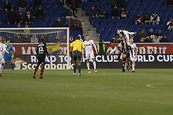 March 13, 2018 - Harrison, New Jersey, United States - Tyler Adams (4) of Red Bulls & Hiram Munoz (30) of Club Tijuana fight for ball during Scotiabank Concacaf Champions League quarterfinal second leg game at Red Bull Arena Red Bulls won 3 - 1 (5 - 1 on aggregate) (Credit Image: © Lev Radin/Pacific Press via ZUMA Wire)